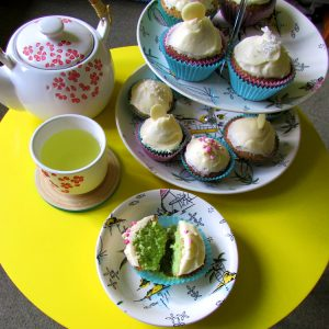 Pandan cupcake afternoon tea